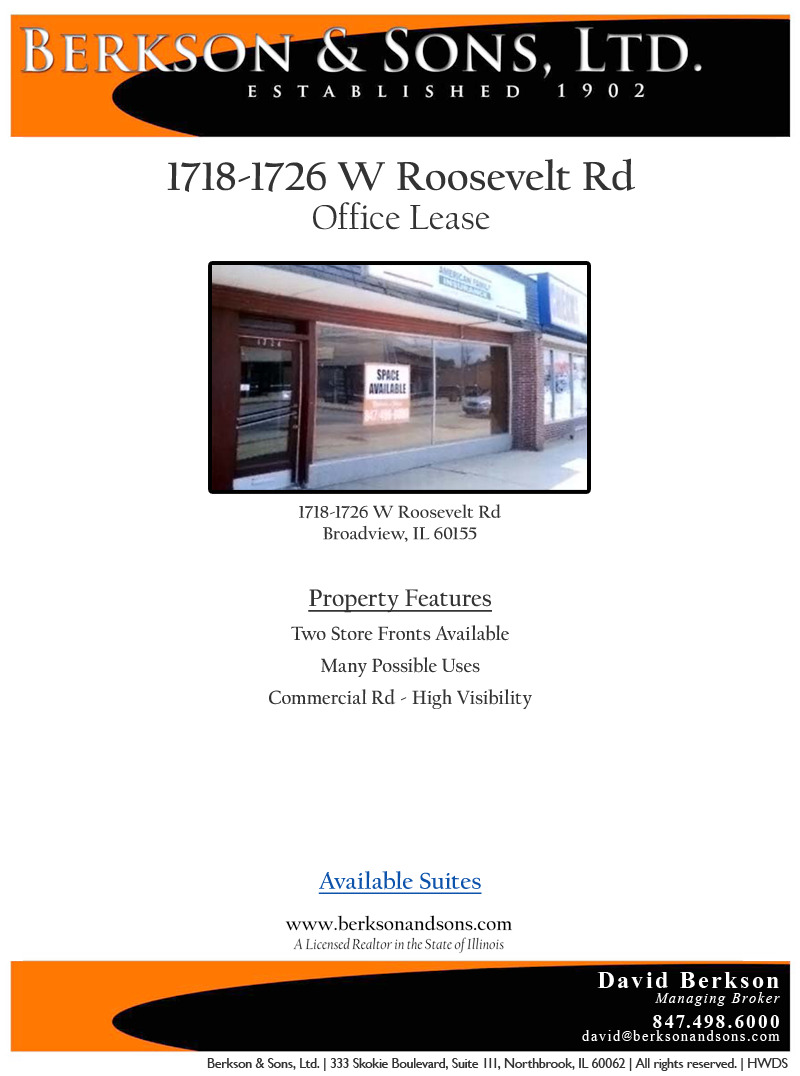 Berkson & Sons - 1718 Roosevelt - Property Features